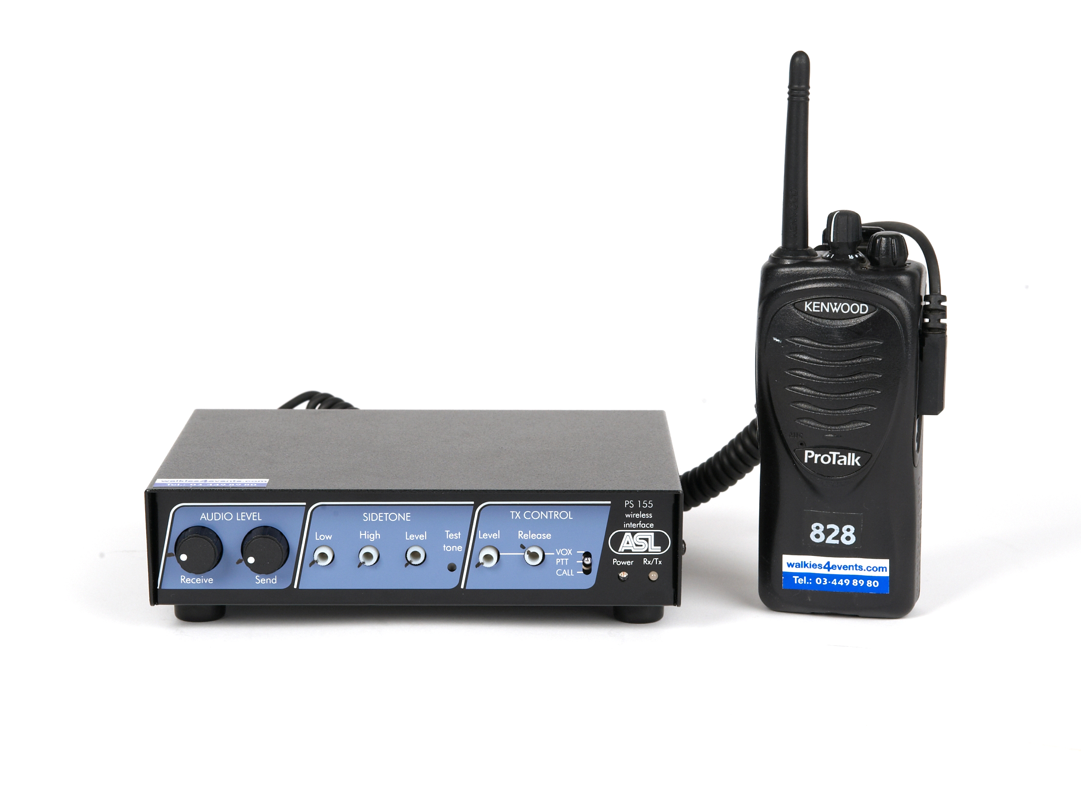 Walkies4Events - ASL PS 155 bekabelde intercom voor interface met walkietalkies van het merk Kenwood